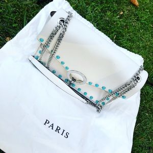 Sandro Yza bag white with turquoise beads